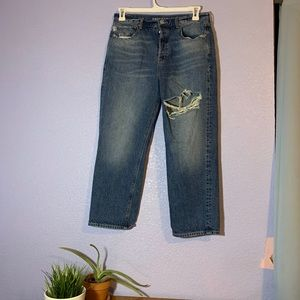 American Eagle Cropped Distressed Mom Jean